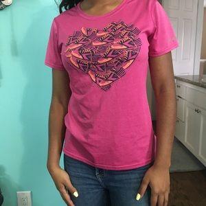 Pink heart workout shirt